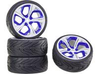 Reely 1:10 Straatmodel Complete wielen On-Road 5-spaaks Wit-blauw 1 stuk(s)