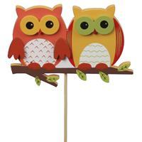 Bellatio 6x Stekers/instekers met oranje uilen 8,5 cm - Hobbybasisvoorwerp