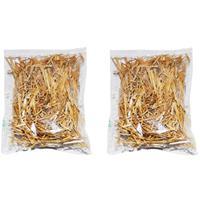 Bellatio 2x zakjes grove decoratie stro 14 x 20 cm - Decoratief object