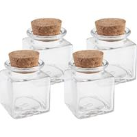 Merkloos 4x Mini glazen vierkante flesjes/potjes 4 x 4 x 6 cm met kurk dop -