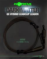 Korda Dark Matter Leader QC Hybrid Clip - Weed - 40lb - 50cm
