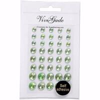Merkloos Hobby/knutselen groene plak parels steentjes 80x stuks -