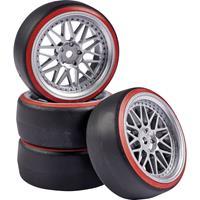 Carson Modellsport 1:10 Straatmodel Complete wielen Drift Y-spaken Zilver, Rood 4 stuk(s)