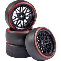 Carson Modellsport 1:10 Straatmodel Complete wielen Drift Y-spaken Zwart, Rood 4 stuk(s)