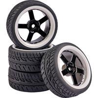 Carson Modellsport 1:10 Straatmodel Complete wielen Wegprofiel 5-spaaks Zwart/wit 4 stuk(s)