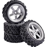 Carson Modellsport 1:10 Straatmodel Complete wielen Rally 5-spaaks Zilver 4 stuk(s)