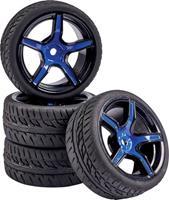 Carson Modellsport 1:10 Straatmodel Complete wielen Wegprofiel 5-spaaks Blauw-zwart 4 stuk(s)