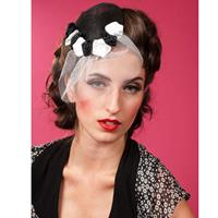 Fiftiesstore Blanche Lou Fascinator, Black and White