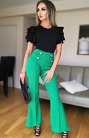 exclusivepremium Ciska Button Detail Flared Trousers Jade