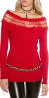 koucla Sexy  fine knitted jumper with carmen neck Red
