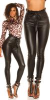 cosmodacollection Sexy Skinny Paperbag Leatherlook pants with belt Black