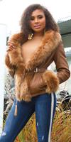 cosmodacollection Sexy leatherlook jacket lined with fake fur Brown