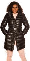 cosmodacollection Trendy Winterjack met riem Zwart