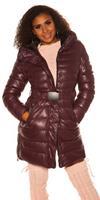 cosmodacollection Trendy Winterjack met riem Bordeaux