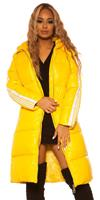 cosmodacollection Trendy Long Winter jacket with hood Yellow