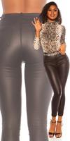 cosmodacollection Sexy 5 zak lederlook broek zwart