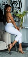 cosmodacollection Sexy hoge taille jeans cropped met kant details wit