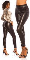 cosmodacollection Sexy lederlook broek met elastic taille band zwart
