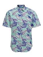 Only & Sons Leaf Printed Short Sleeved Shirt Heren Blauw