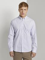 TOM TAILOR Stretch overhemd met dessin, white blue crosses design