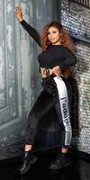 Cosmoda Collection Trendy thermo sweatpants met strepen zwartzilver