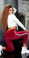 Cosmoda Collection Trendy thermo sweatpants met contrasterende strepen bordeaux