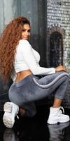 Cosmoda Collection Trendy thermo sweatpants met contrasterende strepen grijs