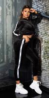 Cosmoda Collection Trendy fluweel sweatsuit hoodie + joggingbroek zwart