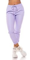 Cosmoda Collection Trendy faux leder jogger style broek lila
