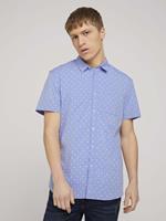 TOM TAILOR DENIM overhemd met patroon, blue white triangle print