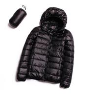 Casual ultralichte witte eendendonsjas Dames herfst winter warme jas parka met capuchon, maat: XXXL (zwart)