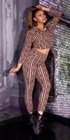 Cosmoda Collection Luxury look 2-piece set leggings+sweatshirt bruin