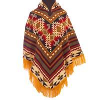 EcuaFina Kleurrijke native poncho - Geel - Comfortabel & handgemaakt Mix
