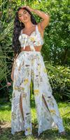Cosmoda Collection Sexy zomer set- broek met split en bustier top wit