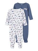 Name it 2-pack Drukknopen Pyjama Heren Blauw
