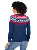 Your Look... for less! Dames Pullover donkerblauw gedessineerd Größe