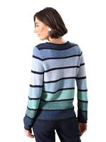 Your Look... for less! Dames Pullover donkerblauw/salie gestreept Größe