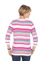 Your Look... for less! Dames Pullover fuchsia/donkerblauw gestreept Größe