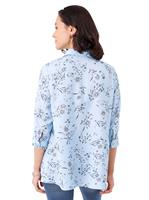 Your Look... for less! Dames Longline blouse lichtblauw geprint Größe