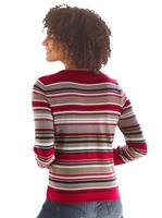 Your Look... for less! Dames Pullover rood/taupe gestreept Größe