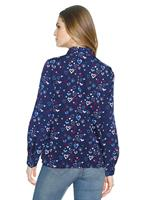 Your Look... for less! Dames Blouse nachtblauw gedessineerd Größe