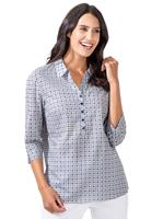 Your Look... for less! Dames Blouse marine/wit geprint Größe