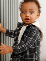 VERTBAUDET Geruit overhemd voor baby's betonnen grijze tegels
