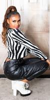 Cosmoda Collection Sexy faux leder cargo broek zwart