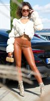 Cosmoda Collection Sexy hoge taille faux leder leggings bruin