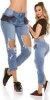 Cosmoda Collection Sexy 7/8 jeans destroyed look met franjes jeansblauw