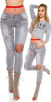 Cosmoda Collection Sexy skinny jeans destroyed look grijs