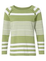 Your Look... for less! Dames Pullover kiwi/wit gestreept Größe