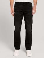 Tom Tailor Marvin Straight Jeans met gerecycled polyester, used dark stone black denim