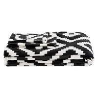 Leen Bakker Plaid Robin - zwart/wit - 130x170 cm